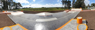 Wide view of the skate park